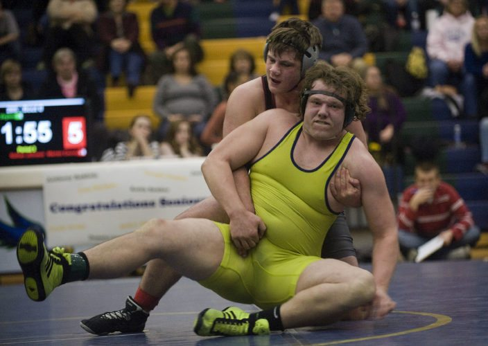Warren County's Nathan Johnson controls Skyline's Joseph Pingley during the 285 pound match during Thursday night's wrestling at Skyline High School in Front Royal. Johnson won the match.  Rich Cooley/Daily